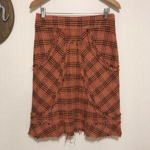 Elevenses tweed wool orange Sylvia plaid skirt